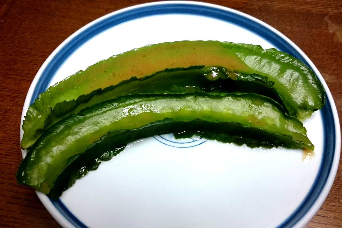 「茨木駅前マルシェ」茨木市忍頂寺の四角豆