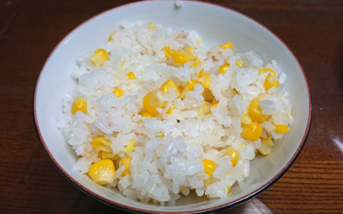 茨木えきまえマルシェレシピとうもろこしご飯