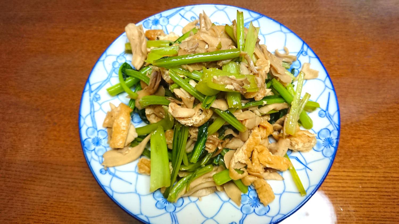 茨木えきまえマルシェ茨木野菜レシピ小松菜薄揚げ舞茸炒めもの